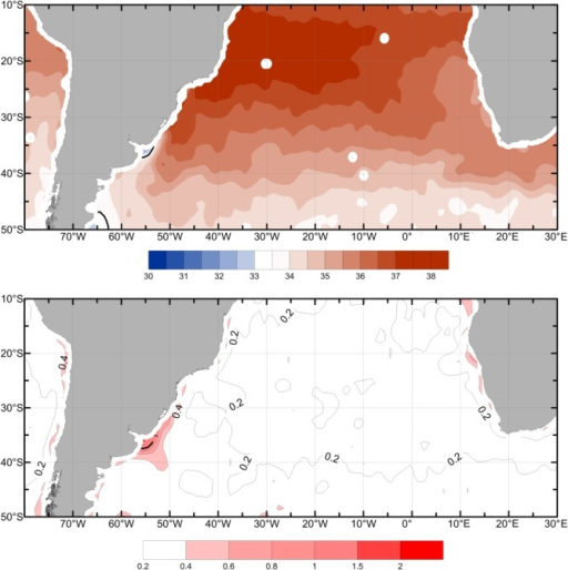 (a) Mean SSS distribution in the subtropical South Atlantic derived from Aquarius L3 monthly gridded (1° × 1°) data product September 2011 to August 2013. (b) Standard deviation of SSS.