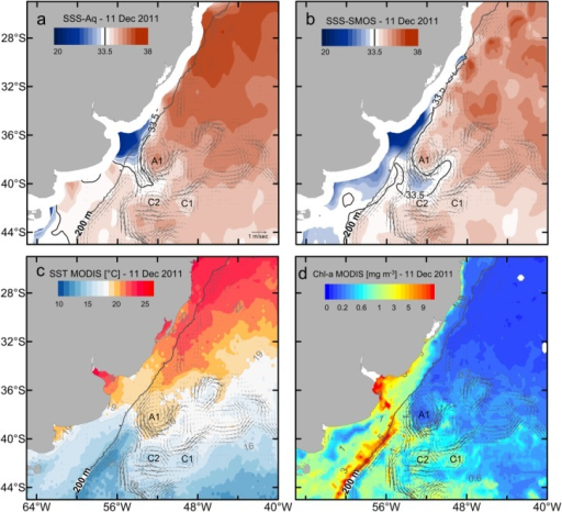 SSS distributions from (a) Aq and (b) SMOS, (c) SST and (d) surface chlorophyll concentration from MODIS Aqua for 11 December 2011. Also shown in each figure are the OSCAR velocities for the same date. The gray thick line indicates the 200 m isobath.