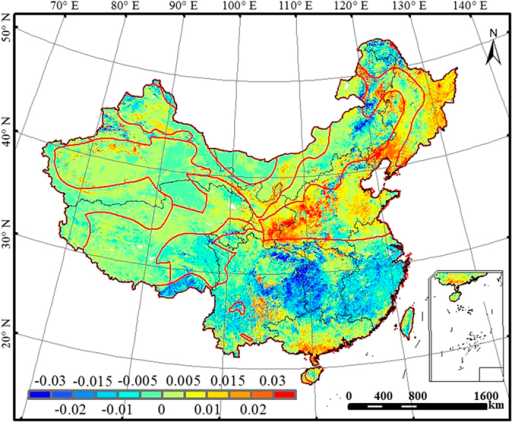 Trends of annual WUE (g C kg−1 H2O yr−1) for the terrestrial ecosystems across China during the period 2000-2011.This figure was produced using ArcGIS 10.0.