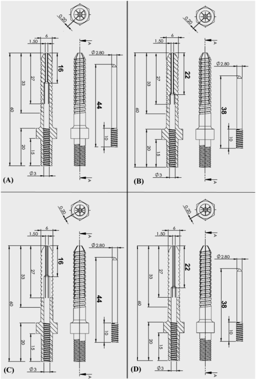 Schematic drawings showing four types of expandable screws: (A) 4-slit with 16-mm EEL, (B) 4-slit with 22-mm EEL, (C) 6-slit with 16-mm EEL, and (D) 6-slit with 22-mm EEL.The EEL was defined as the length from the point of diameter change of the internal hole to the screw tip. All of the screws had the same outer diameter of 6 mm, a length of 40 mm from hub to tip, a thread pitch of 2 mm and a thread depth of 0.8 mm. The lengthwise slit length from the screw tip was 27 mm for all screws. All of the expansive screws had an internal hole 3 mm from the screw head, which was connected to a smaller hole (1.5 mm in diameter) that extended to the screw tip.