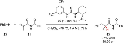 Chen and Wu's enantioselective addition of thiophenol to N-methacryloyl benzamide.