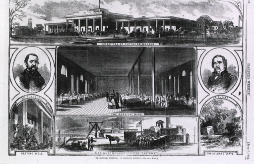<p>The General Hospital at Fortress Monroe.  Vignettes: unloading wounded from Yorktown; surgical ward exterior; R.B. Bontecou (bust, full face); and Getting well (soldiers sitting on porch).</p>