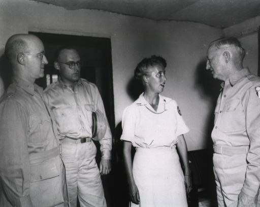 <p>Three men in military uniforms chat with a woman wearing a white uniform.</p>
