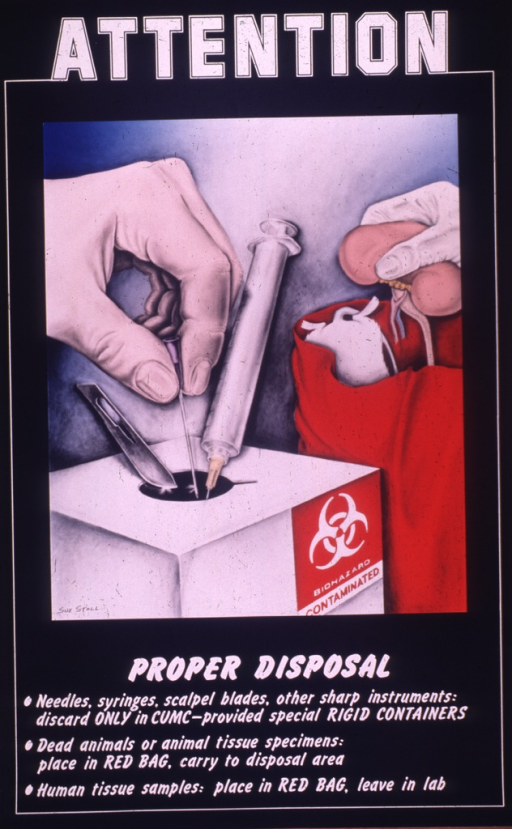 <p>Predominantly black poster with white lettering.  Initial title word at top of poster.  Visual image is a color illustration of medical waste being properly discarded.  On the left, a hand drops a needle into a box labeled &quot;biohazard.&quot;  A syringe and a scalpel are also near the opening to the box.  On the right, a dead mouse/rat is in a red bag and a hand is about to drop some type of organ into the bag as well.  Remaining title text and caption below illustration.</p>
