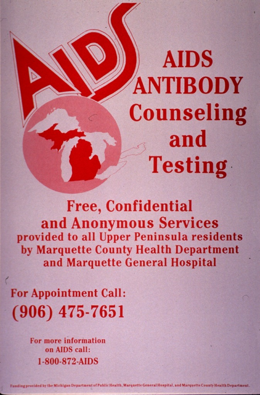 <p>Predominantly gray poster with burgundy lettering.  Title near upper right corner.  Visual image is a silhouette of the State of Michigan and the Great Lakes.  Note text and image near upper left corner.  Caption in center of poster.  Sponsor information at bottom of poster.</p>