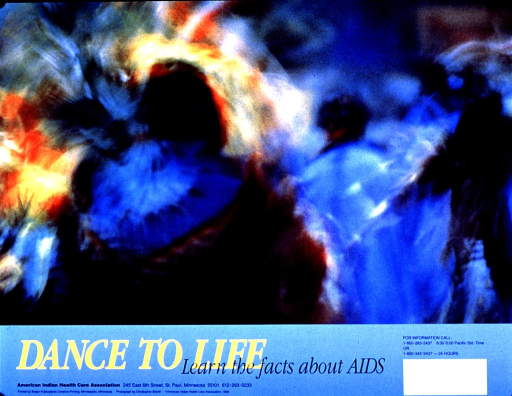 <p>Multicolor poster with yellow and black lettering.  Visual image is a color photo reproduction featuring the blurred figures of people dancing.  The effect may be from a long-exposure photo.  The person in the foreground appears to wear traditional dress.  Title and publisher information below photo.</p>