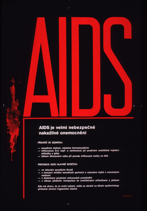 <p>Predominantly black poster with red and white lettering.  Sole visual image is a red shape suggestive of dripping paint on left side of poster.  Title in upper portion of poster.  Note below.  Title and note address AIDS as a dangerously contagious disease.  Additional text on poster deals with how AIDS is spread and how it can be prevented.</p>