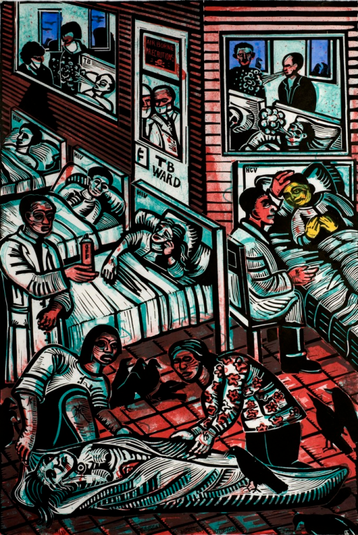 <p>A hospital scene with health care workers and patients. In the foreground is a woman in a body bag being tended to by 2 other women. Many crows surround them on the floor. Behind them to the left are 3 beds, each labeled, &quot;HIV,&quot; with patients in them.  One doctor holds an aerosol can that says, &quot;Off&quot;.  To the right is a patient in a bed labeled &quot;HCV&quot;.  The patient's skin color is yellow.  A doctor sits next to the bed and holds his hand to the patient's head. Behind the beds is a secured area called, &quot;TB Ward&quot; where doctors can be seen with masks covering their mouths and patients coughing. On the door to the ward it says, &quot;airbourne precautions&quot;.</p>