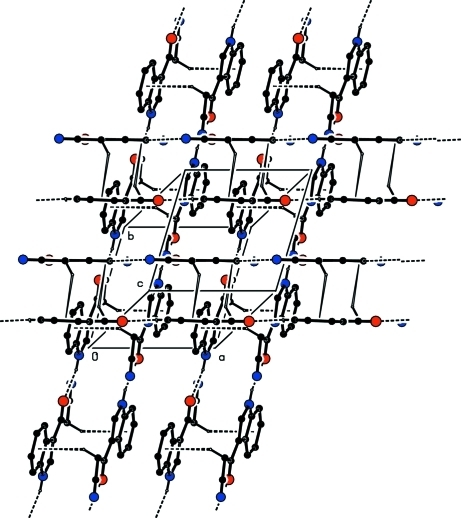 The crystal packing of the molecules viewed down c axis. H atoms not involved in hydrogen bonding have been omitted for clarity.