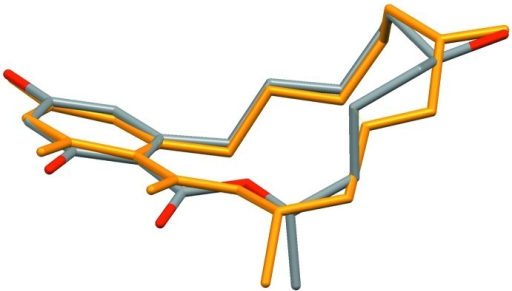 : The difference in conformation between the known β-Zearalanol (yellow, Gelo-Pujić et al., 1994) and the title compound.