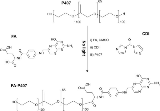 Synthesis of FA-P407 conjugate.Notes: FA and P407 were conjugated by CDI-mediated coupling, purified by dialysis, and recovered by freeze drying.Abbreviations: FA, folic acid; P407, poloxamer 407; CDI, 1,1′-carbonyldiimidazole; DMSO, dimethyl sulfoxide.
