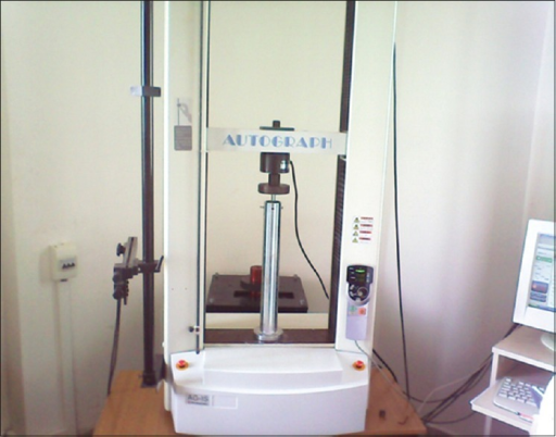 Application of the test on the axial compression testing machine