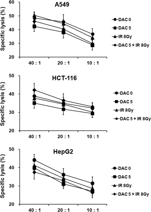 Effects of treatment with decitabine, ionizing radiation (IR), or their combination on cytolytic activity of NK cells against target tumor cells.NK cells were co-cultured with A549, HCT-116, and HepG2 cells at various ratios for 4 h, and cytotoxicity assay was performed by flow cytometry. Results are expressed as average NK cell-induced cytotoxicity ± SD against A549, HCT-116, and HepG2 cells. Experiments were independently performed from five healthy donors. The assay was performed in triplicated each donor. The statistical significance was determined using a one-way ANOVA.