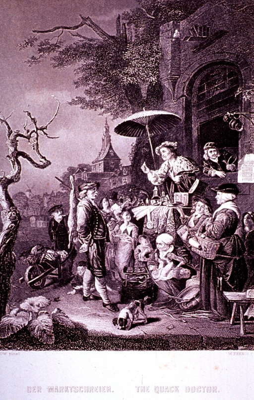 <p>Market day scene with a quack doctor behind his stand.</p>