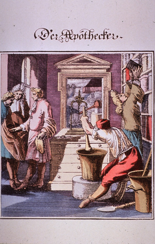 <p>Shows 18th c. methods of mixing prescriptions.</p>