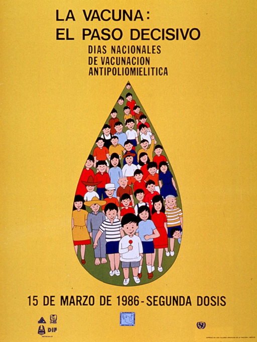 <p>Yellow poster with black lettering.  Title and beginning of caption at top of poster.  Visual image is an illustration of a group of children contained within a droplet.  Remaining caption words below illustration.  Logos for Sector Salud agencies, the vaccination campaign, and sponsor at bottom of poster.</p>