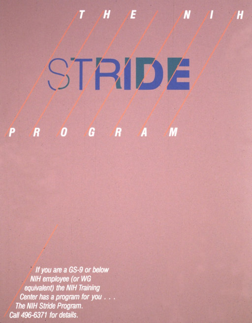 <p>Poster is chiefly text.  Diagonal orange lines go through the title, breaking up the blue and green letters of &quot;STRIDE&quot;.</p>