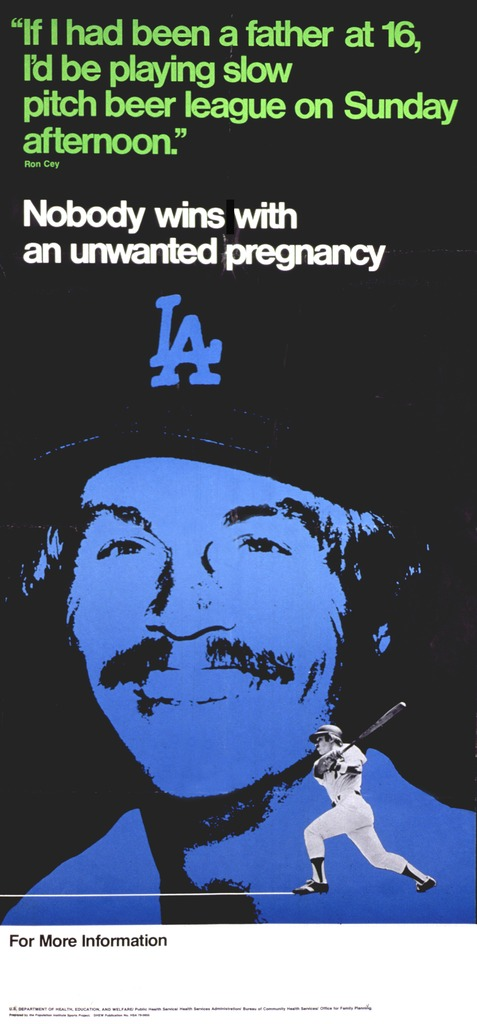 <p>Predominantly black poster with green, white and black lettering. Visual image is a blue portrait of Ron Cey and a black and white photo of him playing baseball. Note above title.</p>