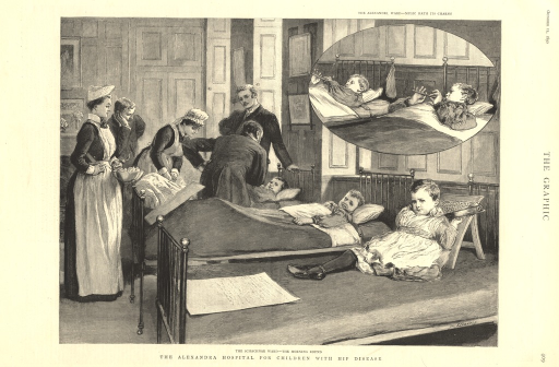 <p>A group of nurses and doctors huddle over the hospital bed of a sick child.  There are two other children on beds in the ward.  A circular vignette at the head of the print shows two children lying in hospital bed and playing musical instruments.</p>