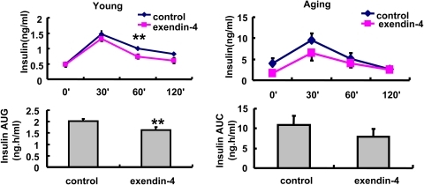 Glucose stimulated insulin secretion in OGTT time points in A, 3 months and B, 20–22months old mice treated with PBS or exendin-4, n = 7 in each group of 3 months old mice, n = 9 in each group of aging mice.Values were shown as Mean±SEM, **P<0.05 vs control as determined by student t-test.