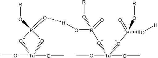 Bidentate und monodentate phosphate coordination to tantalum ions. Adapted from [61].