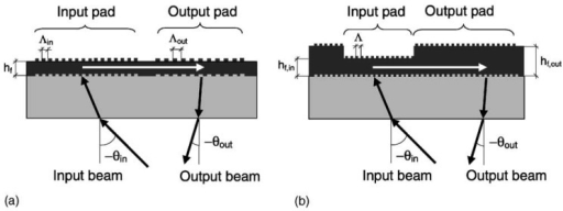 (a) Cut through dual period sensor chip. (b) Cut through thickness-modulated sensor chip. From [46], Copyright Elsevier (2003).