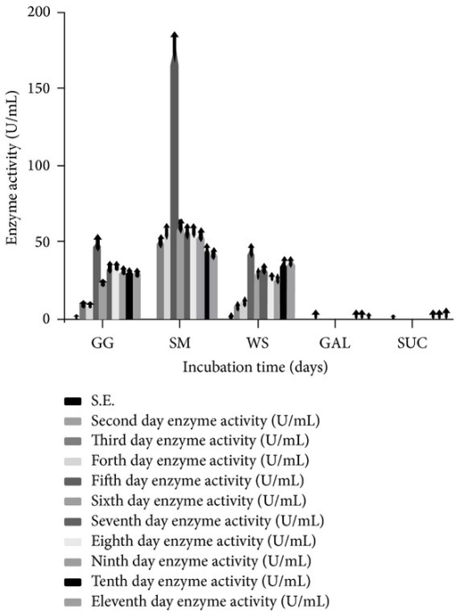 Effect of different carbon sources on the level of α-Gal activity (U/mL) secreted by T. evansii (WF-3) up to 11 days. GG = guar gum, SM = soya bean meal, WS = wheat straw, GAL = galactose, and SUC = sucrose. The experiments have been conducted three times and the values are shown as mean ± SD. Blank bar = not detected (for first day enzyme activity).