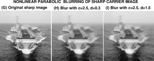 Nonlinear parabolic blurring of sharp USS Eisenhower image g(x, y), by using it as initial values in Eq. (13) with two different sets of values for the constants c, d.