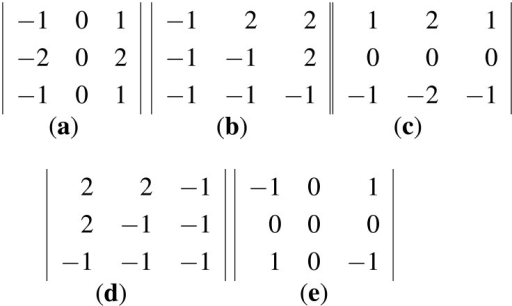 The five filters used in [2,22]. The filters compute directional derivatives in 0°, 45°, 90°, 135° and the non-direction showed in (a–d) and (e) respectively. (a–d) are the direction filters and (e) is the non-direction filter.