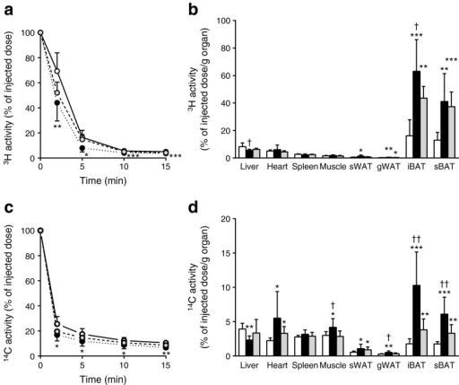 Central GLP-1R activation increases uptake of plasma TG-derived fatty acids and glucose by BAT in DIO mice. After 12 weeks of high-fat feeding, mice were treated for 5 days with i.c.v. exendin-4 (n = 10) or vehicle (control n = 6, pair-fed n = 9). After treatment, mice were injected with [3H]TO-labelled particles and [14C]DG. Plasma 3H activity (a) and 14C activity (c) were plotted relative to the injected dose. At 15 min after injection, organs were isolated and uptake of the 3H activity (b) and 14C activity (d) was determined. Values are mean ± SD. *p < 0.05, **p < 0.01 and ***p < 0.001 compared with control. †p < 0.05 and ††p < 0.01 compared with pair-fed control. White bars, control; black bars, exendin-4; grey bars, pair-fed control