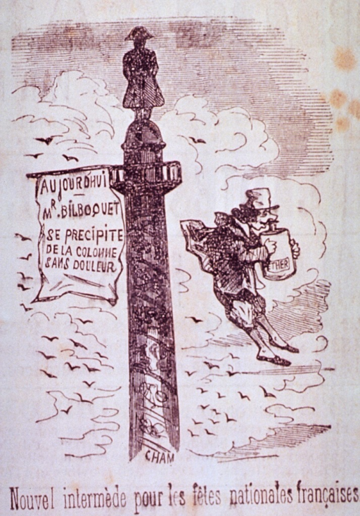 <p>A man inhaling from a large container of ether is floating in air past a pole with a banner on it and topped by a statue.</p>