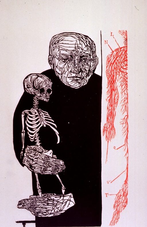 <p>Half-length figure of a man holding a model of a skeleton; partial anatomical chart to the right.</p>