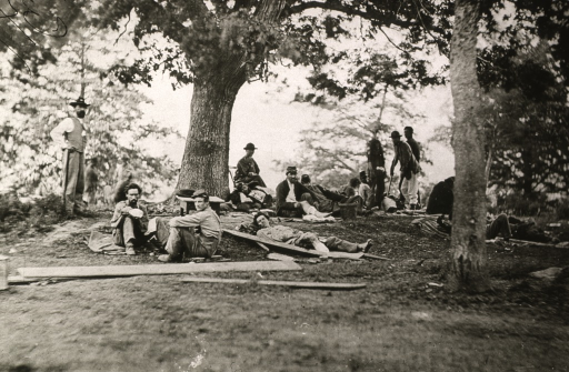 <p>Shows wounded men at Fredericksburg, Va. during the U.S. Civil War.</p>