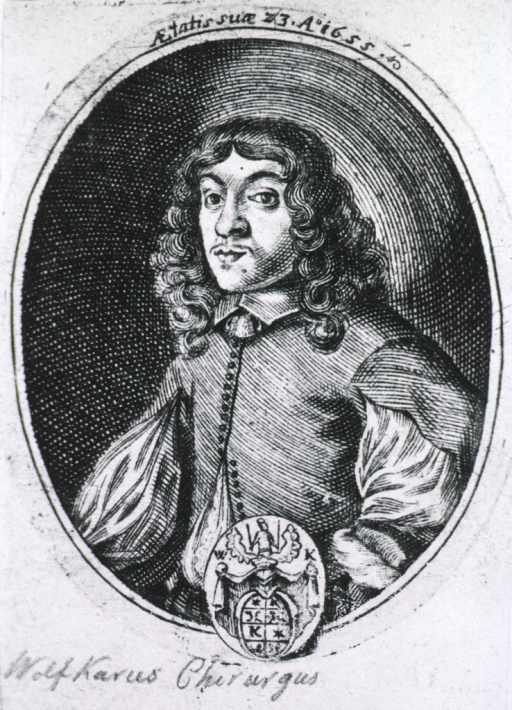 <p>Half-length, left pose, full face; in oval; coat-of-arms.</p>