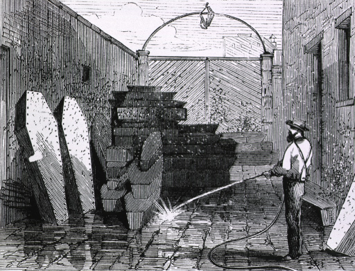 <p>Coffined bodies at the morgue waiting for the coroner [alley scene, with coffins being hosed down].</p>