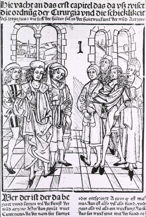 <p>Group of students standing, listening to a discourse by a (?) surgeon.</p>