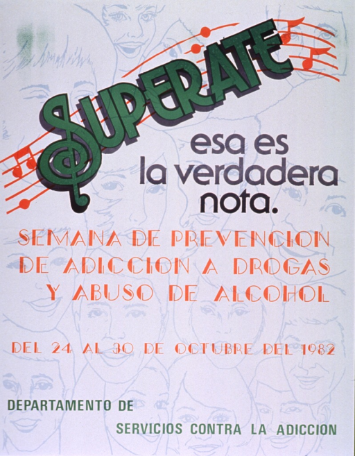 <p>Predominantly white poster with multicolor lettering.  Title at top of poster.  Initial title word superimposed on a musical staff; initial &quot;S&quot; is suggestive of a treble clef sign.  Title may mean success is the right note.  Background features illustrations of faces.  Note text announces a drug and alcohol abuse prevention week.  Publisher information at bottom of poster.</p>