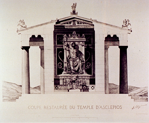 <p>Exterior view of the facade at one end of the Temple of Aesculapius.</p>