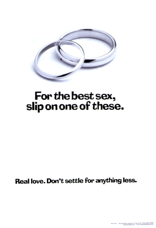 <p>White poster with black lettering. Visual image is two wedding bands, one resting on the other. Title below image.  Note below title.</p>