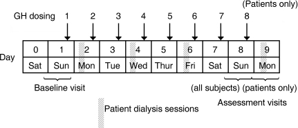 Trial design. All subjects had eight visits to the trial centre, seven daily doses of rhGH and a follow-up visit (Days 16–19). Patients had an additional assessment visit on Days 8–9, received an additional rhGH dose on Day 8 and had four dialysis sessions over the 9-day period.