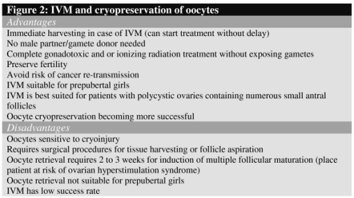 IVM and cryopreservation of oocytes.