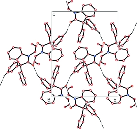 The packing of the molecules viewed down a axis.