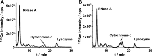 HPLC/ICP-MS chromatograms of Ce labelled proteins (A) and Sm-labelled proteins (B).