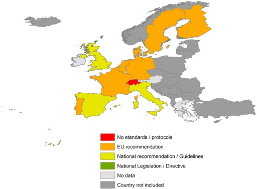 Transplantation health policy on T. cruzi infection in EU countries and Switzerland.