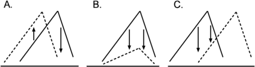 Three representative patterns of shifts in dose-effect curves of drug self administration. Lines indicate basal dose-effect curves. Dashed lines indicate dose-effect curves when pretreated. Panel A. a leftward shift. Panel B. a downward shift. Panel C. a rightward shift.