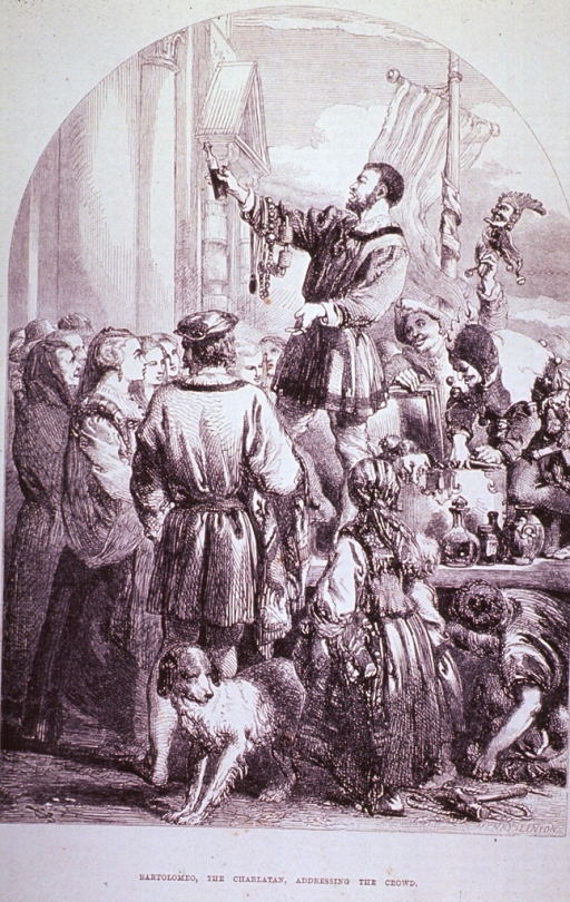 <p>A man, standing on a platform before a small crowd, presents his amulets and cures with the aid of a jester. In the foreground, a dog is standing next to a young girl.</p>