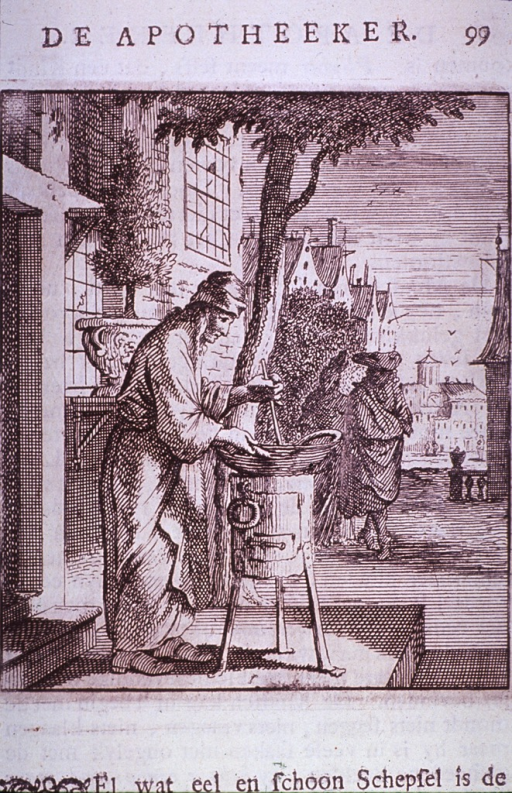<p>Shows a man in front of a building, stooped over a stove.</p>