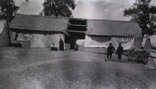 <p>Personnel of a Division Lazaret near a Chinese house.</p>