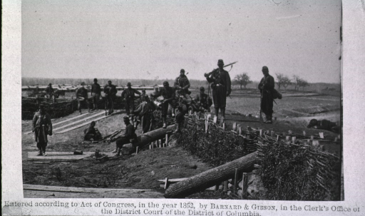 <p>Soldiers positioned at the fortifications in Centreville, Virginia.</p>