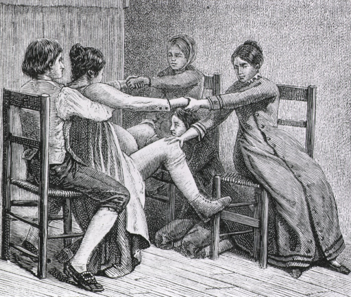 <p>Two women and two men assist during childbirth.</p>
